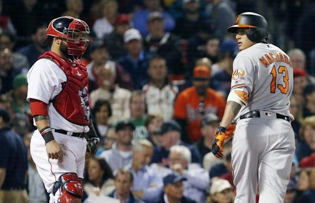 "The Red Sox have thrown a lot of baseballs at Manny Machado lately, with ""a lot"" being ""more than zero."" (AP)"