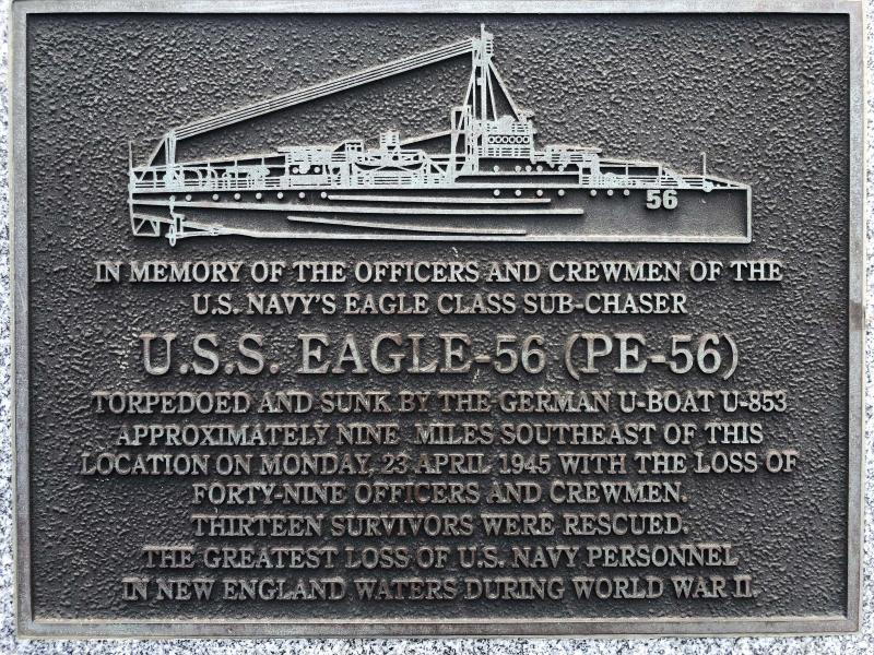 A plaque at Fort Williams Park at Cape Elizabeth, Maine, on Thursday, July 18, 2019, remembers those killed when the USS Eagle PE-56 was sunk During World War II off the Maine coast on April 23, 1945. The Navy determined in 2001 that the patrol boat had been sunk by a German submarine. On Monday, July 15, 2019, Garry Kozak, a specialist in undersea searches, announced that Ryan King, a New Hampshire diver, located the vessel's bow and stern about three miles off Cape Elizabeth in June 2018. (AP Photo/David Sharp)