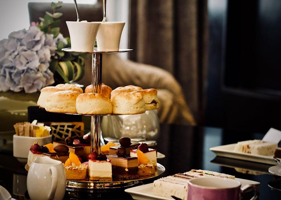 """<p>English breakfast tea, mini cucumber sandwiches, scones with clotted cream and jam, macarons, tea cake . . . the options are endless, and your stomach will be so happy! Whether you want to dress up fancy or keep it casual, channeling your inner Marie Antionette or <a href=""""https://www.popsugar.com/celebrity/How-Does-Queen-Elizabeth-Take-Her-Tea-46013945"""" class=""""link rapid-noclick-resp"""" rel=""""nofollow noopener"""" target=""""_blank"""" data-ylk=""""slk:Queen Elizabeth"""">Queen Elizabeth</a> could be really fun. At the very least, make sure to keep your pinky up!</p>"""