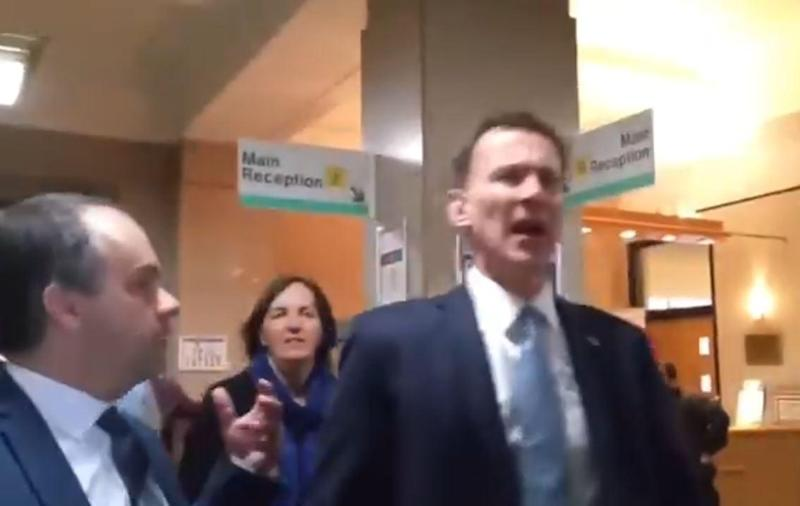 Jeremy Hunt was cornered as left St Helier's hospital on Wednesday (Sandra Ash)