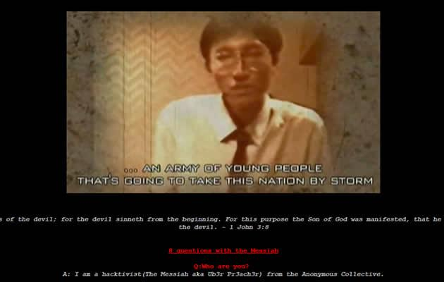 "Hacker, ""The Messiah"", set up Q&A site to explain why he hacked Sun Ho's site. (Online screengrab)"