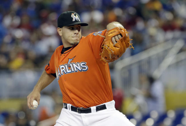 Miami Marlins' Jose Fernandez pitches against the Pittsburgh Pirates during the first inning of a baseball game in Miami, Sunday, July 28, 2013. The Marlins won 3-2. (AP Photo/Alan Diaz)