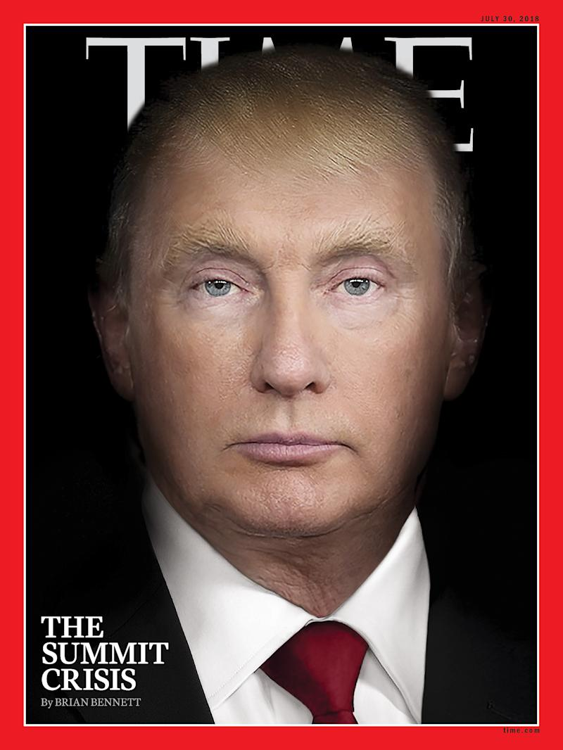 The cover of Time magazine's July 30 edition, with a photo illustration combining the images of President Donald Trump and Russian President Vladimir Putin.