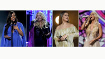 This combination photo shows Mickey Guyton, from left, Miranda Lambert, Maren Morris and Carrie Underwood performing at the 56th annual Academy of Country Music Awards in Nashville, Tenn. The awards show aired on April 18 with both live and prerecorded segments. Underwood brought the Academy of Country Music Awards to church. Morris won two honors, including song of the year, Lambert performed three times and held onto her record as the most decorated winner in ACM history and Guyton, the first Black woman to host the awards show, gave a powerful, top-notch vocal performance. (AP Photo)