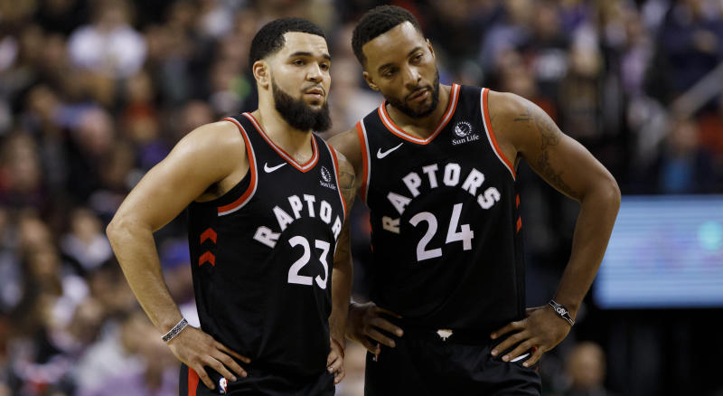 TORONTO, ON - NOVEMBER 06: Fred VanVleet #23 and Norman Powell #24 of the Toronto Raptors are seen during second half of their NBA game against the Sacramento Kings at Scotiabank Arena on November 6, 2019 in Toronto, Canada. NOTE TO USER: User expressly acknowledges and agrees that, by downloading and or using this photograph, User is consenting to the terms and conditions of the Getty Images License Agreement. (Photo by Cole Burston/Getty Images)