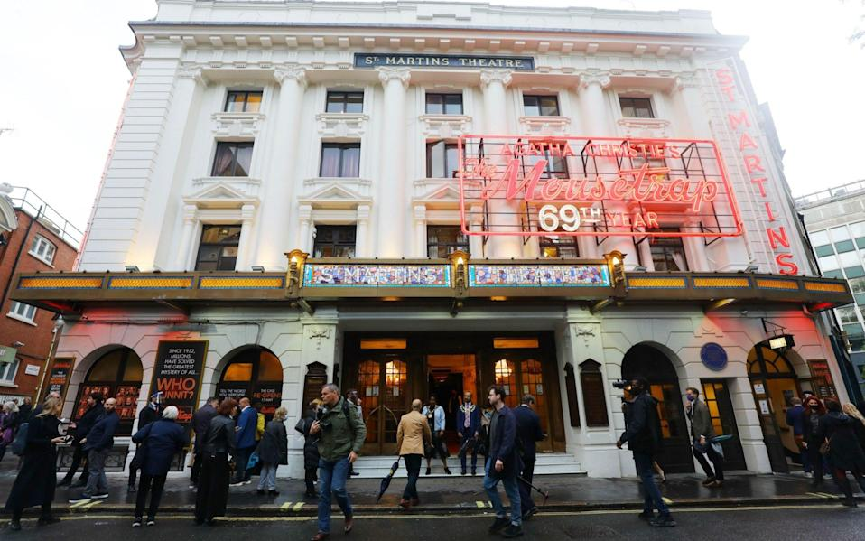 Theater-goers queue outside St Martins theatre in London, Britain - VICKIE FLORES/EPA-EFE/Shutterstock