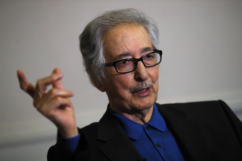 FILE — In this photo taken on Jan. 29 2019, former Iranian President, Abolhassan Banisadr, speaks during an interview with the Associated Press in Versailles, west of Paris, France. Banisadr, Iran's first president after the country's 1979 Islamic Revolution who fled Tehran after being impeached for challenging the growing power of clerics as the nation became a theocracy, died Saturday, Oct. 9, 2021. He was 88. (AP Photo/Francois Mori, File)
