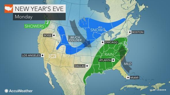 Eastern US may face wet, snowy weather as millions celebrate