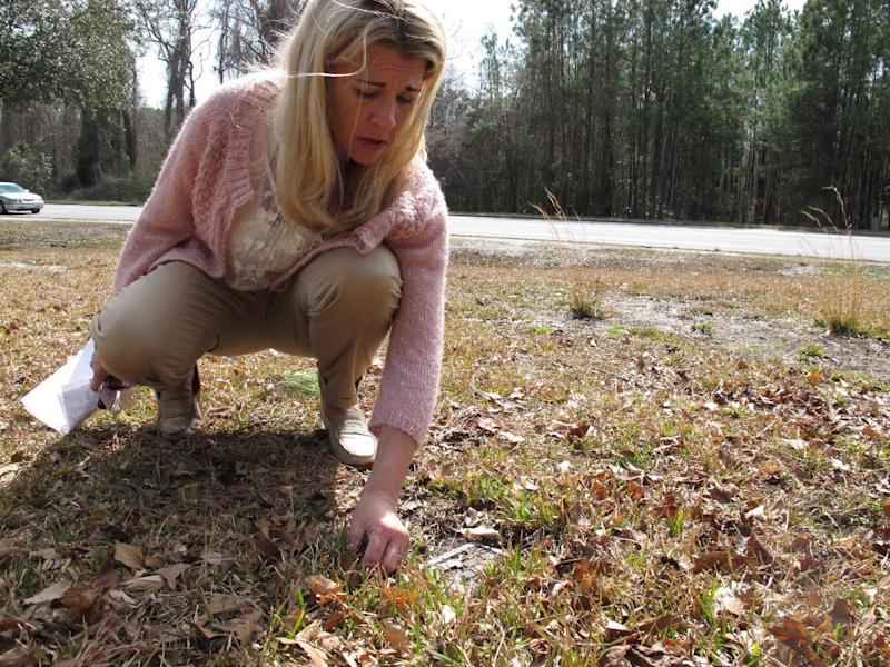"Mary Blakely clears dirt and grass from a 60-year-old temporary tin marker in the ""Babyland"" section of Onslow Memorial Park in Jacksonville, N.C. on Wednesday, Feb. 27, 2013. The Marine's daughter scoured this and other graveyards for the names of children who may have died because of contaminated water at nearby Camp Lejeune. (AP Photo/Allen Breed)"