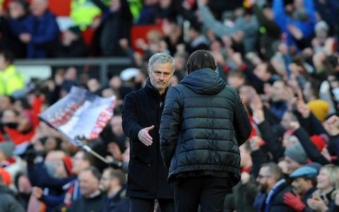 Antonio Conte shakes hands with Jose Mourinho at the final whistle - Credit: Rui Vieira/AP