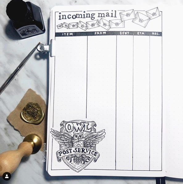 """<p>This Harry Potter-themed <a href=""""https://www.instagram.com/carlinginink/"""" rel=""""nofollow noopener"""" target=""""_blank"""" data-ylk=""""slk:mail tracking page"""" class=""""link rapid-noclick-resp"""">mail tracking page</a> from works especially well for people who send or receive a ton of snail mail. People with Etsy or clothing resale businesses or particularly active online shoppers, give this bujo idea a try. </p>"""