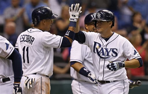 Tampa Bay Rays' Kelly Johnson, right, is congratulated by teammate Yunel Escobar after hitting a two-run home run during the sixth inning of a baseball game against the Minnesota Twins, Wednesday, July 10, 2013, in St. Petersburg, Fla. (AP Photo/Mike Carlson)