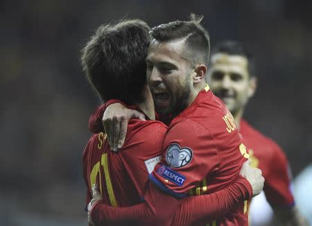 Football Soccer - Spain v Israel - 2018 World Cup Qualifying European Zone - Group G - El Molinon Stadium, Gijon, Spain, 24/3/17 Spain's Jordi Alba (R) congratulates David Silva after scoring first goal. REUTERS/Eloy Alonso