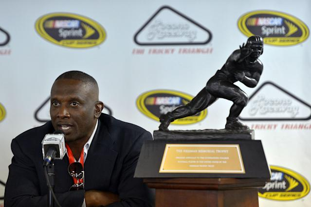 "<a class=""link rapid-noclick-resp"" href=""/ncaaf/players/296579/"" data-ylk=""slk:Tim Brown"">Tim Brown</a> won the 1987 Heisman Trophy. (Photo by Drew Hallowell/Getty Images for NASCAR)"
