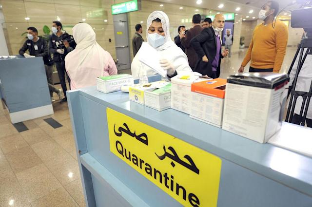 A quarantine area set up at Cairo airport last month. There has since been one confirmed case of coronavirus in the country. Source: Getty