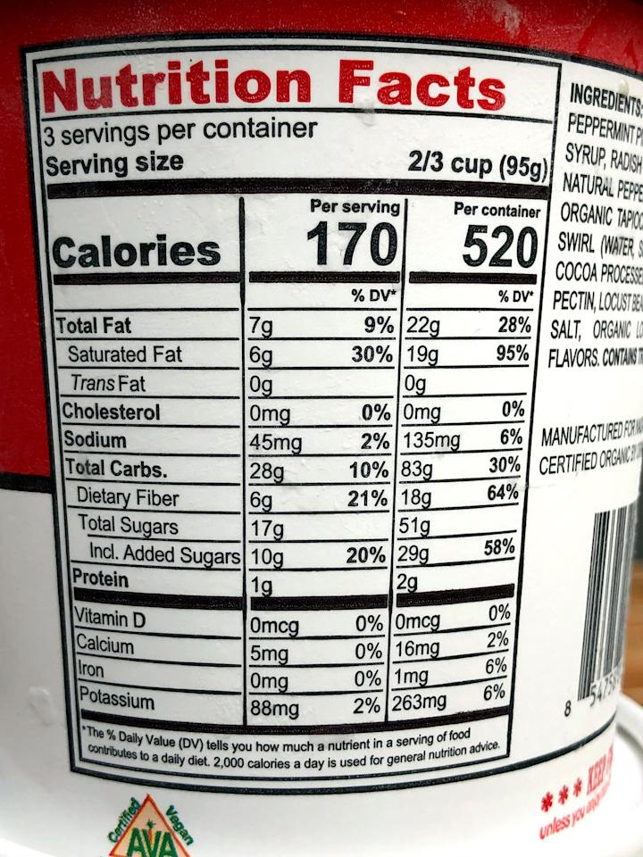 "<p>First of all, thank you, NadaMoo!, for knowing that sometimes, I may want to devour an entire pint in one sitting and for including the nutritional info in case I do so. Knowing it's 520 calories is definitely eye-opening (although that won't stop me from enjoying the whole damn thing!).</p> <p>For one serving, which is one-third of the container, this Peppermint Bark dairy-free dessert has 170 calories, seven grams of fat, six grams of saturated fat, no cholesterol, 45 milligrams of sodium, 28 grams of carbs, six (!) grams of fiber, 17 grams of sugar (which includes 10 grams of added sugars), and one gram of protein.</p> <p>Just for comparison, <a href=""https://www.haagendazs.us/products/ice-cream/peppermint-bark-ice-cream?gclsrc=aw.ds&amp;?gclid=EAIaIQobChMIupuzs7eS5QIVkYTICh2HXwhcEAAYASAAEgJ0qPD_BwE&amp;gclsrc=aw.ds"" target=""_blank"" class=""ga-track"" data-ga-category=""Related"" data-ga-label=""https://www.haagendazs.us/products/ice-cream/peppermint-bark-ice-cream?gclsrc=aw.ds&amp;?gclid=EAIaIQobChMIupuzs7eS5QIVkYTICh2HXwhcEAAYASAAEgJ0qPD_BwE&amp;gclsrc=aw.ds"" data-ga-action=""In-Line Links"">Haagen-Dazs makes a Peppermint Bark ice cream</a> and it's 280 calories, 16 grams of fat, 10 grams of saturated fat, 75 milligrams of cholesterol, 40 milligrams of sodium, 30 grams of carbs, zero grams of fiber, 26 grams of sugar, and four grams of protein per serving.</p> <p>This NadaMoo! Peppermint Bark has over 100 fewer calories, slightly fewer carbs and less sugar, no cholesterol, and way more fiber. Although ice cream isn't the healthiest food you can eat, NadaMoo! is definitely healthier. </p>"