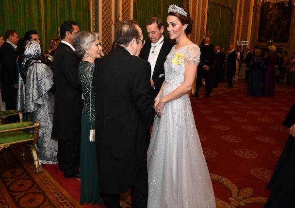 PHOTO: Catherine, Duchess of Cambridge greets guests at an evening reception for members of the Diplomatic Corps at Buckingham Palace on Dec. 4, 2018 in London. (Victoria Jones - WPA Pool/Getty Images)