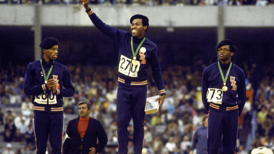 Lee Evans, pictured here with Larry James and Ronald Freeman at the 1968 Olympics.