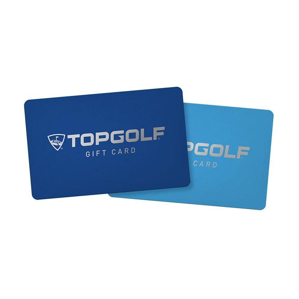 """<p>topgolf.com</p><p><a class=""""link rapid-noclick-resp"""" href=""""https://topgolf.com/us/gift-cards/"""" rel=""""nofollow noopener"""" target=""""_blank"""" data-ylk=""""slk:BUY IT HERE"""">BUY IT HERE</a></p><p>Top Golf takes all the fun things about golf—hitting stuff, drinking, hanging out with your friends—and removes all the more cumbersome elements, like walking and caring. Why go to a lame driving range when you can go to a Top Golf?</p>"""