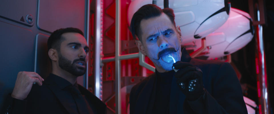 Lee Majdoub and Jim Carrey in SONIC THE HEDGEHOG from Paramount Pictures and Sega. Photo Credit: Courtesy Paramount Pictures and Sega of America.