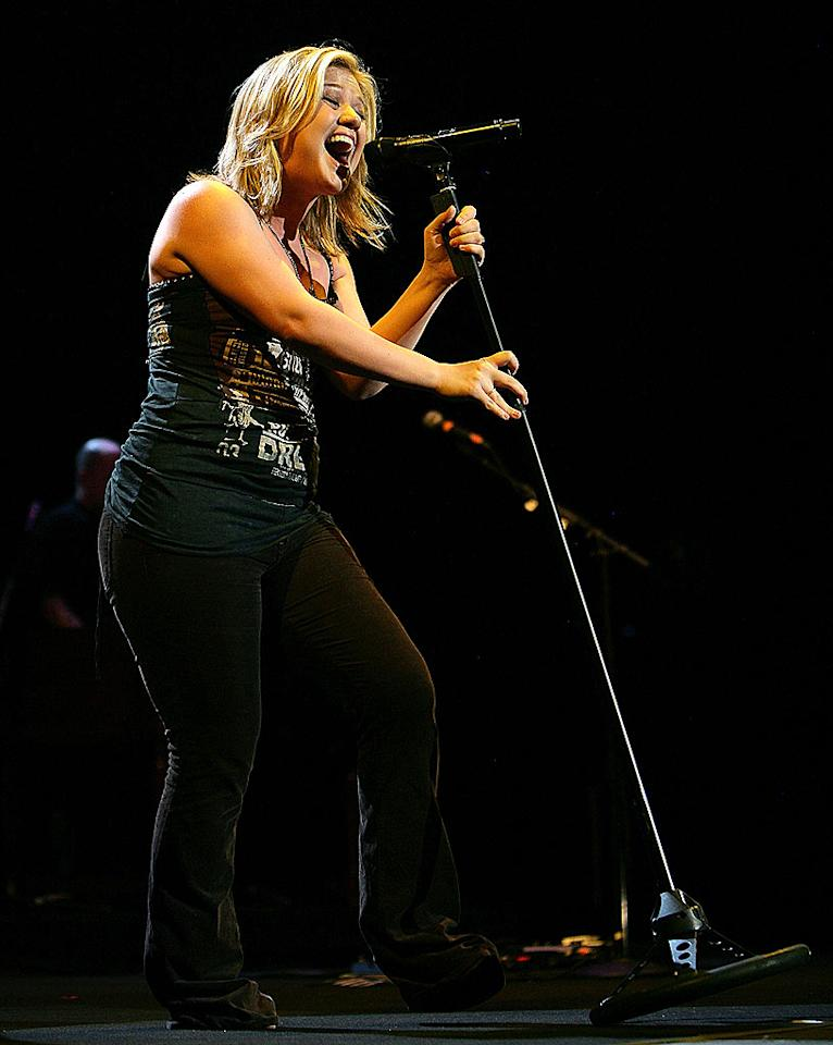 """Kelly Clarkson took her tour down under to perform for fans in Sydney, Australia. On Thursday, her label executive Clive Davis advised singers to focus on singing and not songwriting. His comment was seen as a direct dig at Clarkson, who co-wrote all the tracks on """"My December,"""" her poorest performing album to date. Don Arnold/<a href=""""http://www.wireimage.com"""" target=""""new"""">WireImage.com</a> - March 6, 2008"""