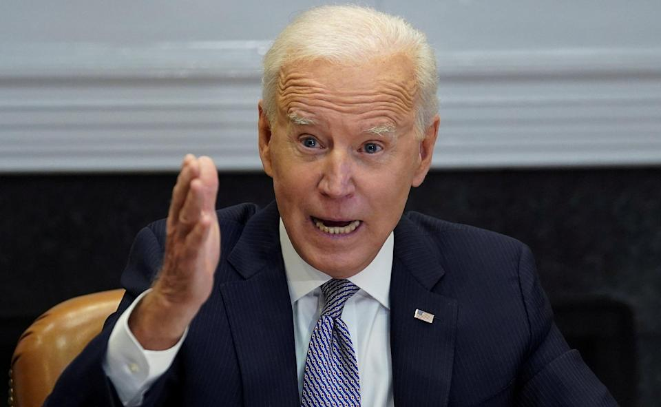 Joe Biden speaks as he participates in the virtual CEO Summit on Semiconductor and Supply Chain Resilience from the Roosevelt Room at the White House in Washington (REUTERS)