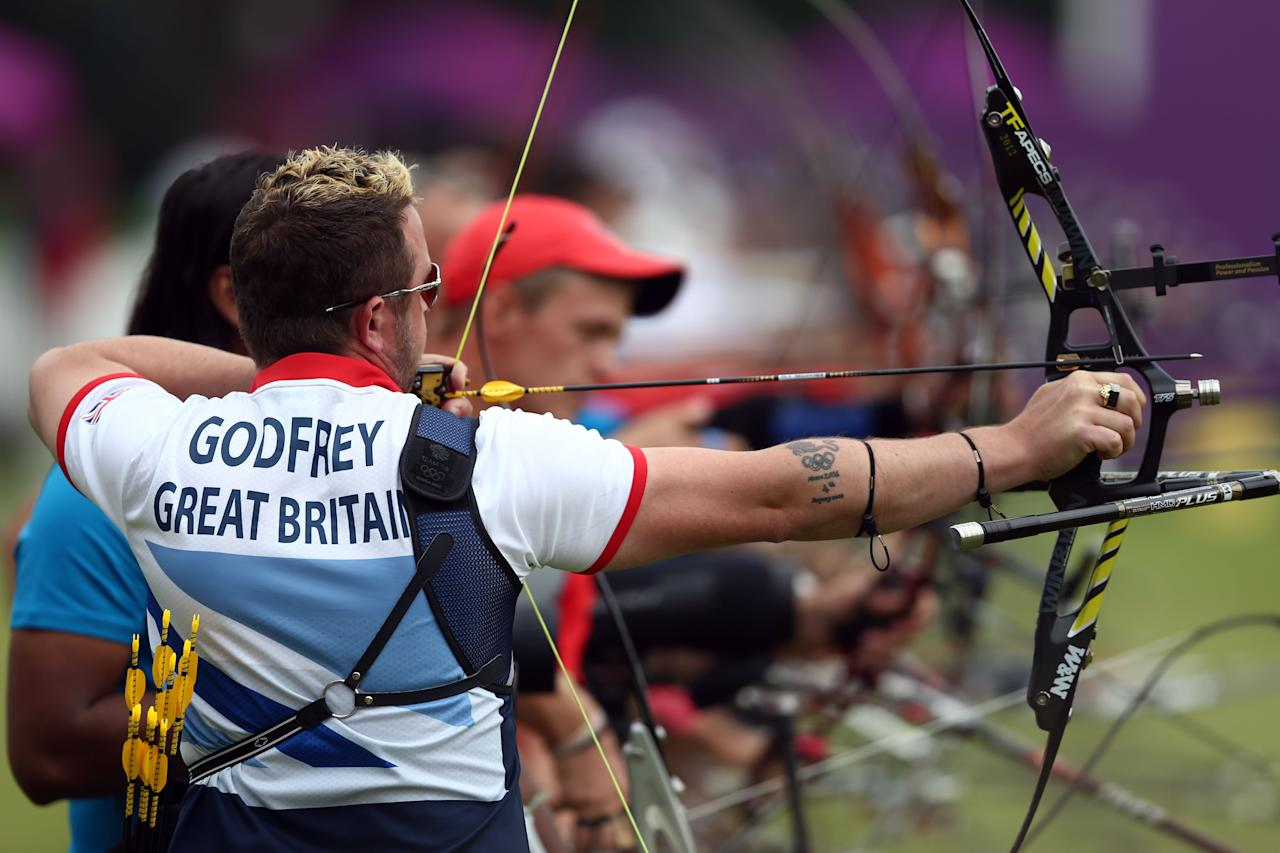 LONDON, ENGLAND - JULY 27:  Larry Godfrey of Great Britain competes during the Archery Ranking Round on Olympics Opening Day as part of the London 2012 Olympic Games at the Lord's Cricket Ground on July 27, 2012 in London, England.  (Photo by Paul Gilham/Getty Images)