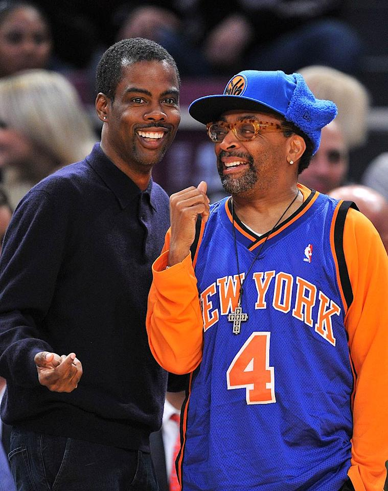 "Comedian Chris Rock gets up close and personal with the Knicks' biggest fan: director Spike Lee. James Devaney/<a href=""http://www.wireimage.com"" target=""new"">WireImage.com</a> - December 7, 2009"