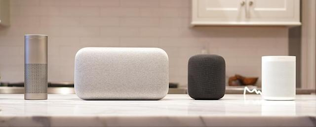 From left: The Amazon Echo Plus ($150), Google Home Max ($400), Apple HomePod ($350), Sonos One ($200). The HomePod sounds best.