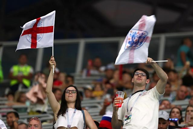 Soccer Football - World Cup - Group G - Tunisia vs England - Volgograd Arena, Volgograd, Russia - June 18, 2018 England fans inside the stadium before the match REUTERS/Sergio Perez