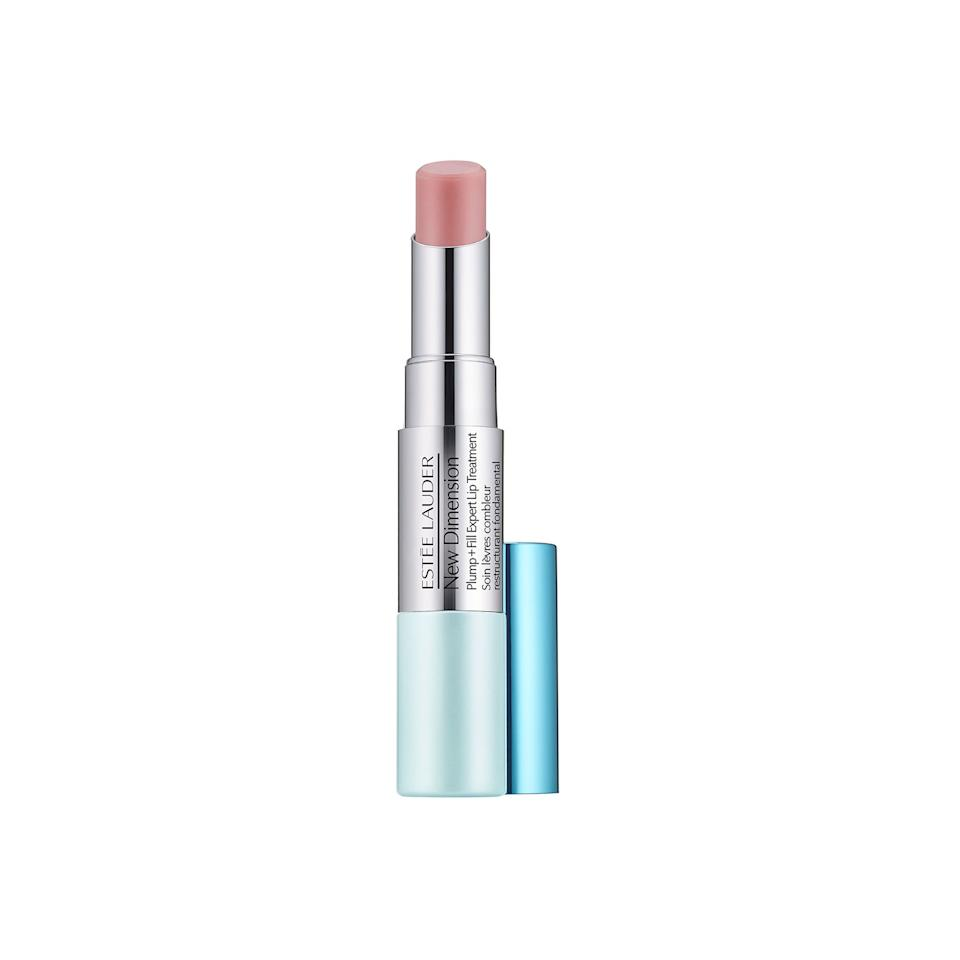 "<p>Unlike the other plumpers we've highlighted in this roundup, this dual-ended treatment targets the outer <em>and</em> inner lip areas. For a Kylie Jenner-approved pout, apply the Filler side to outside the lip line and then follow up with the Plumper end to add extra hydration.</p> <p>$42, <a rel=""nofollow"" href=""https://www.esteelauder.com/product/681/39701/product-catalog/skincare/new-dimension/plump-fill-expert-lip-treatment?mbid=synd_yahoobeauty"">esteelauder.com</a></p>"
