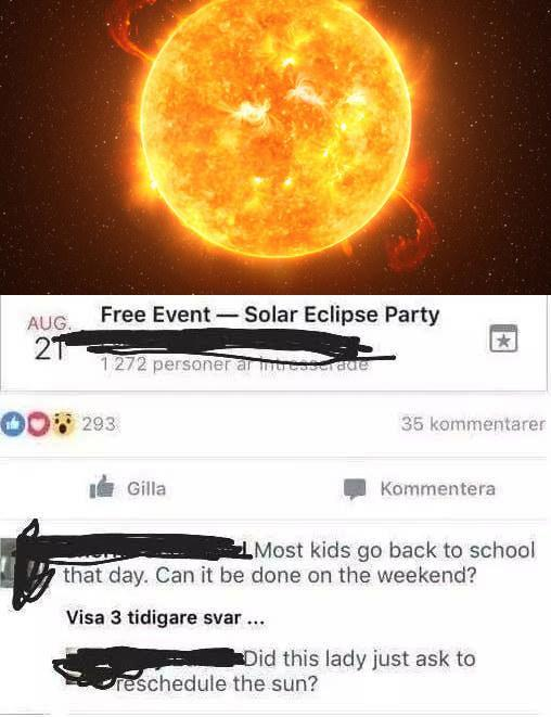 facebook event of a woman asking to reschedule a solar eclipse