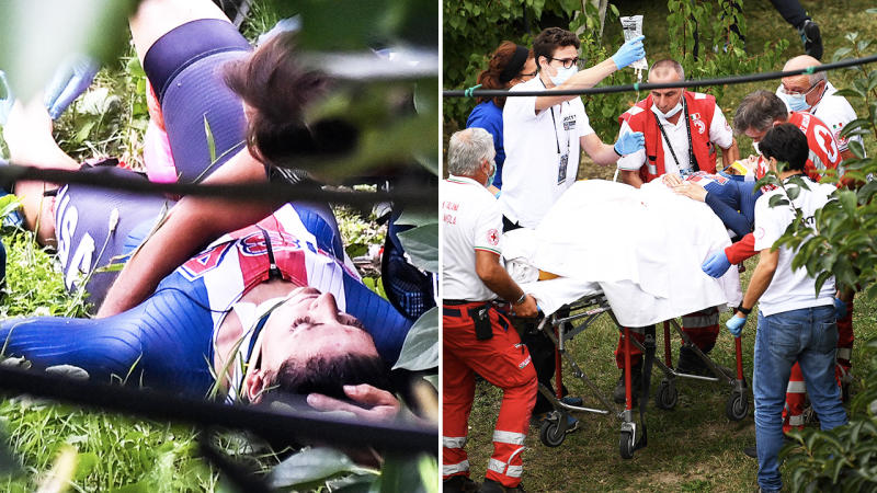 Chloe Dygert, pictured here after her horror crash in Italy.