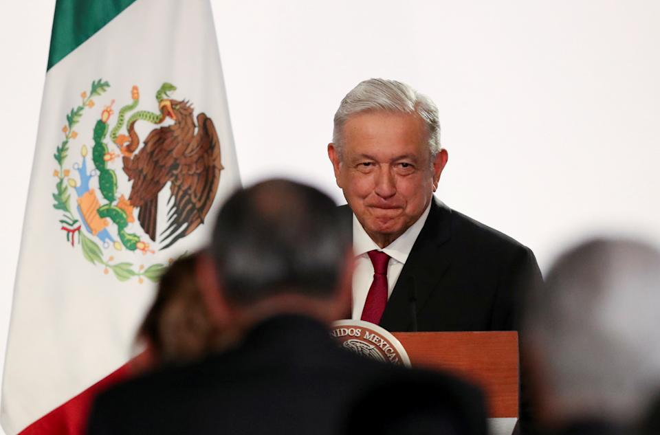 Mexico's President Andres Manuel Lopez Obrador grimaces during a ceremony to deliver his third state of the union address at the National Palace in Mexico City, Mexico September 1, 2021. REUTERS/Edgard Garrido