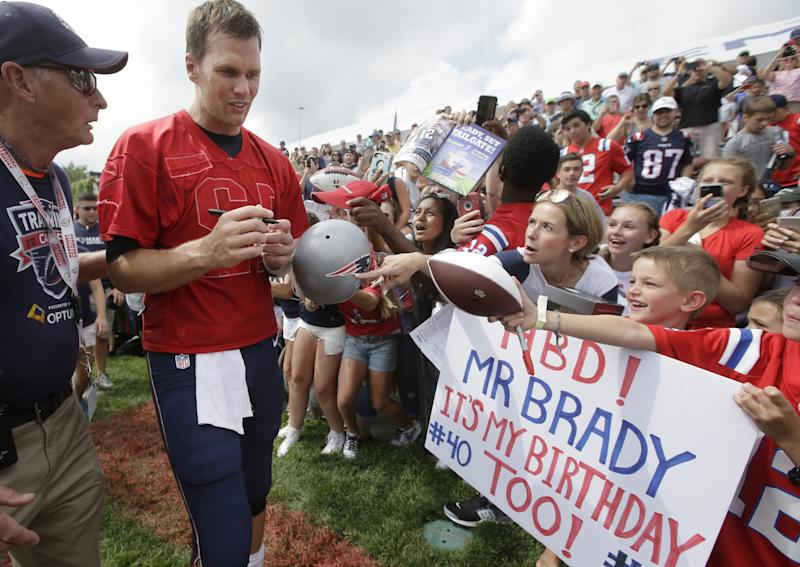 Happy birthday, Tom! Fans feted New England Patriots QB Tom Brady on his 40th. (AP)