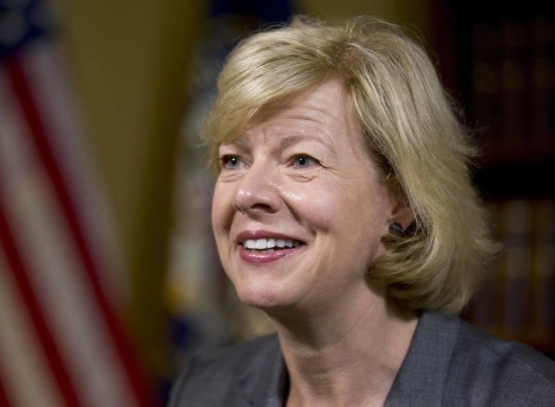 FILE - In this June 21, 2016, file photo, Sen. Tammy Baldwin, D-Wis., speaks during an interview with The Associated Press in her office on Capitol Hill, in Washington. It's a rare and momentous decision, one by one, seated at desks centuries old, senators will stand and cast their votes for a Supreme Court nominee. It's a difficult political call in the modern era, especially for the 10 Democrats facing tough re-election next year in states that President Donald Trump won (AP Photo/Alex Brandon, File)