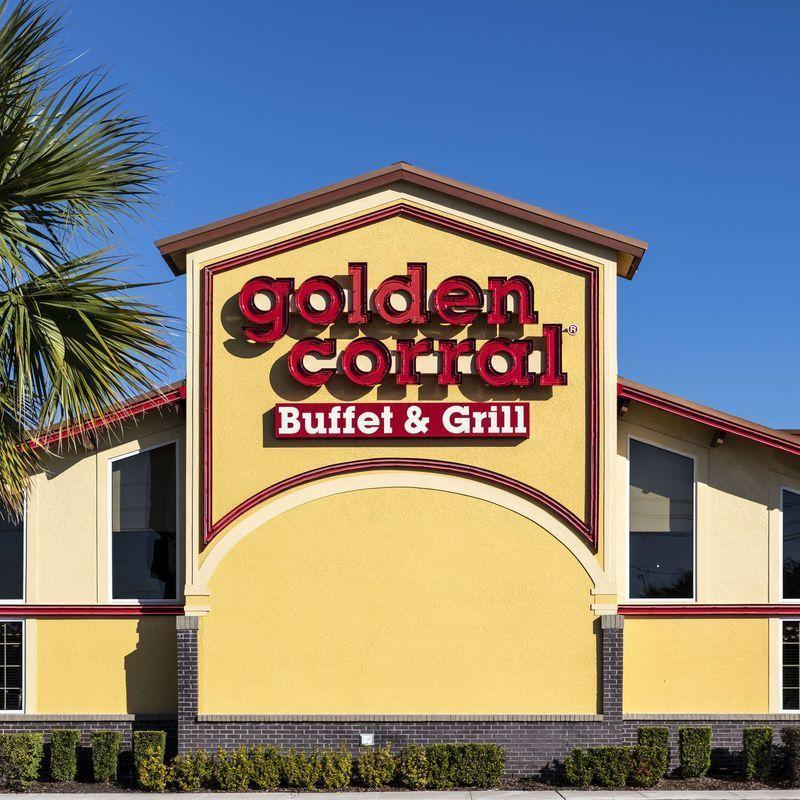 """<p>Not only is Golden Corral open, but each year they put together a full Thanksgiving spread with turkey, pie, and all the trimmings, which you can also get to go.</p><p><strong><a href=""""https://www.goldencorral.com/locations/"""" rel=""""nofollow noopener"""" target=""""_blank"""" data-ylk=""""slk:Find a location"""" class=""""link rapid-noclick-resp"""">Find a location</a>.</strong></p>"""