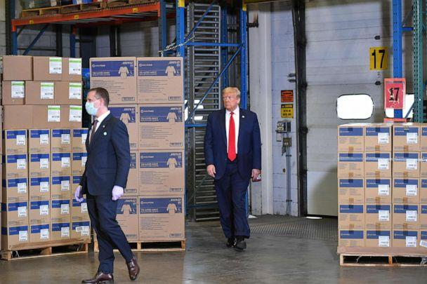 PHOTO: President Donald Trump arrives to tour an Owens & Minor, Inc., medical supplies distribution center in Allentown, Pa., May 14, 2020. (Mandel Ngan/AFP via Getty Images)