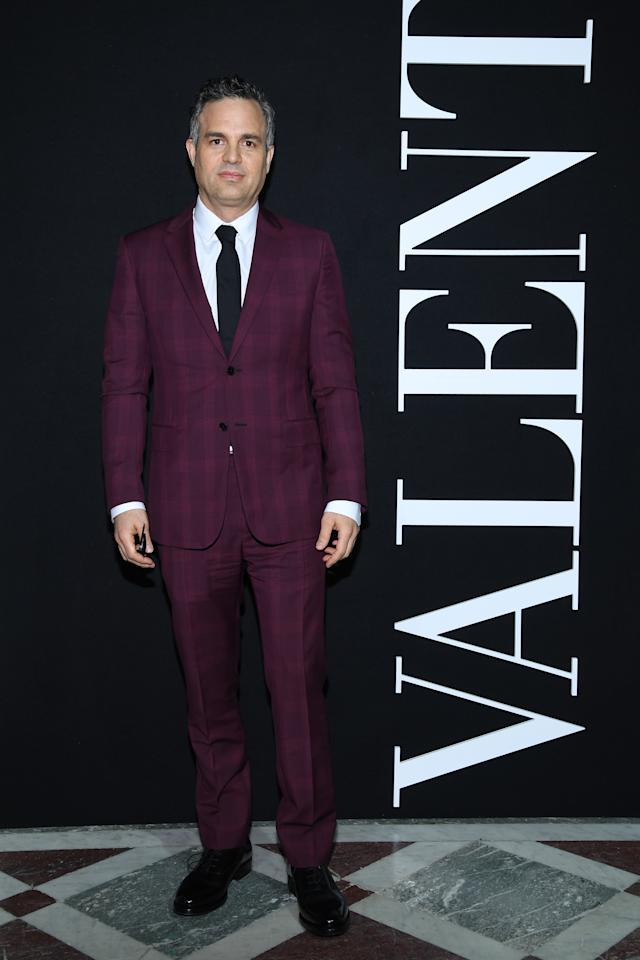 <p>The Oscar-nominee looked very slick at the Valentino show in a burgundy, checked suit. [Photo: Getty] </p>