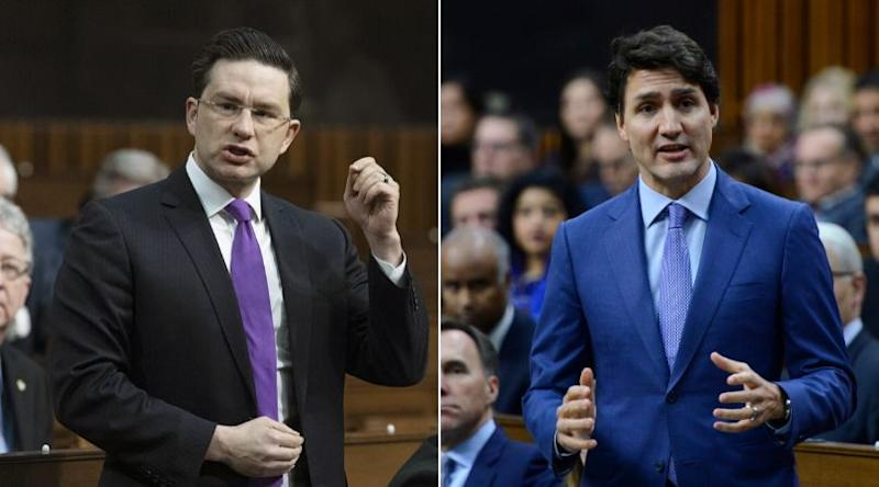 Conservative MP Pierre Poilievre and Prime Minister Justin Trudeau are shown in the House of Commons on Dec. 11, 2019. (Photo: CP)