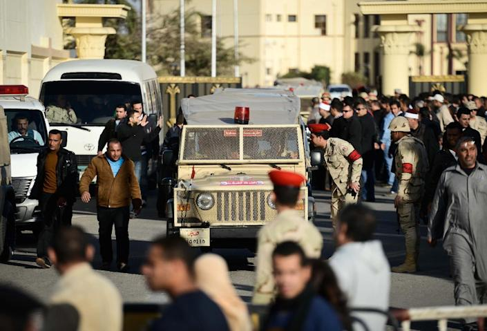 Egyptian members of the armed forces patrol outside al-Maza military airport (AFP Photo/Mohamed El-Shahed)