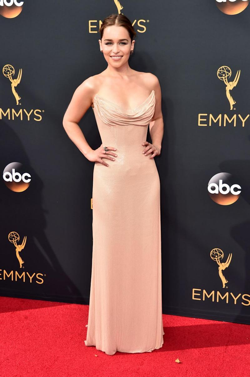 Emilia Clarke, seen at this year's Emmys, has tackled the controversy around Game of Thrones sex scenes. Source: Getty