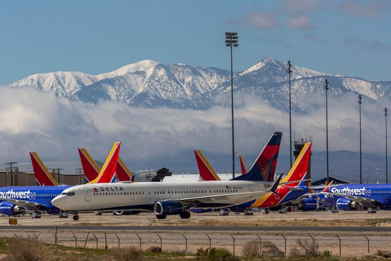 Planes parked at the Southern California Logistics Airport in Victorville on Tuesday. (Photo: David McNew via Getty Images)