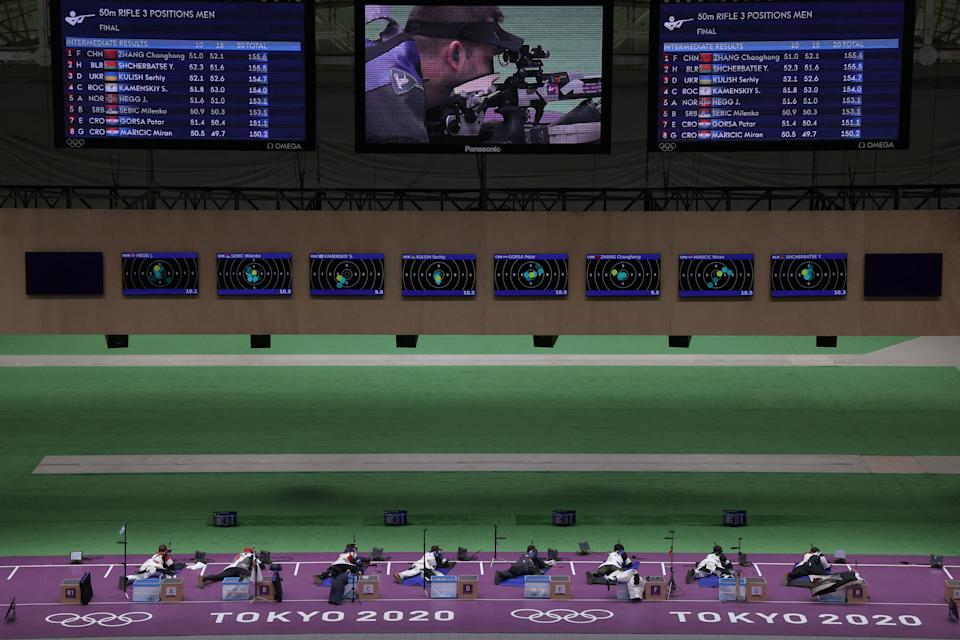 <p>ASAKA, JAPAN - AUGUST 02: The Asaka Shooting Range as the finalists compete in the 50m Rifle 3-Position Men's Finals on day ten of the Tokyo 2020 Olympic Games at Asaka Shooting Range on August 02, 2021 in Asaka, Saitama, Japan. (Photo by Kevin C. Cox/Getty Images)</p>
