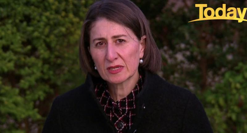 NSW Premier Gladys Berejiklian speaks on camera to the Today Show.