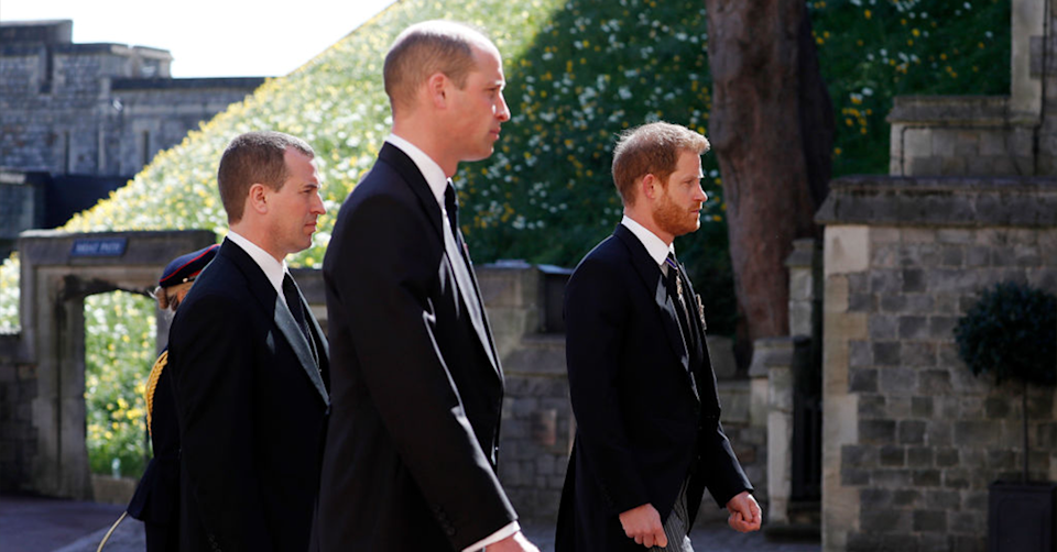 Harry and William at Prince Philip's funeral in April. Photo: Getty