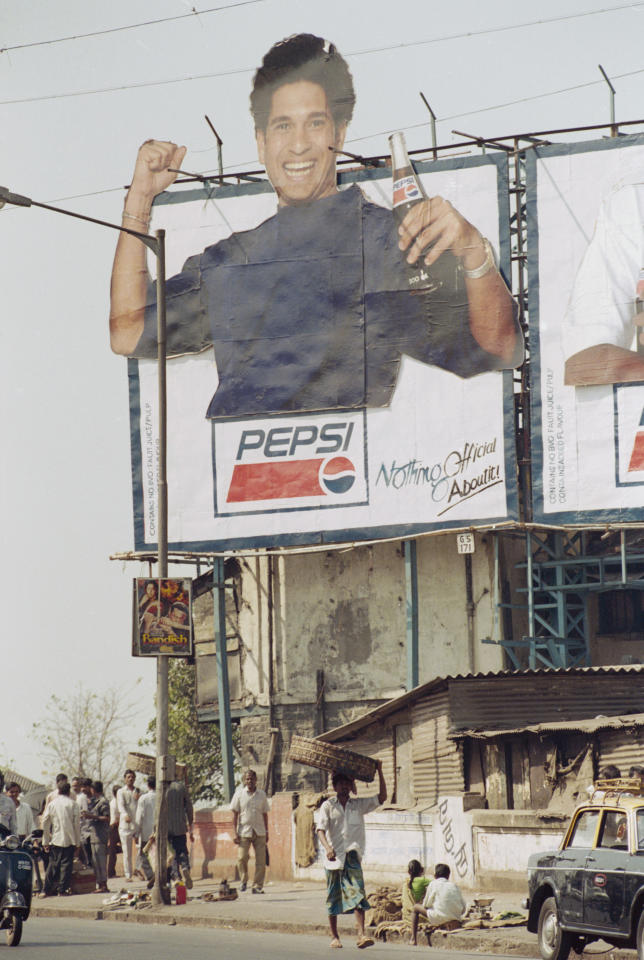 INDIA - FEBRUARY 1996:  Sachin Tendulkar of India advert is on display during the Cricket World Cup held in February 1996 in India. (Photo by Shaun Botterill/Getty Images)