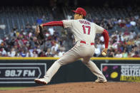 Los Angeles Angels pitcher Shohei Ohtani throws against the Arizona Diamondbacks in the first inning during a baseball game, Friday, June 11, 2021, in Phoenix. (AP Photo/Rick Scuteri)