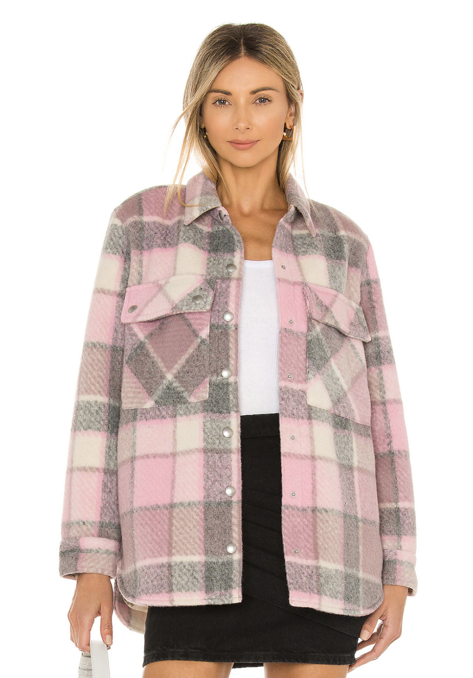 blonde model wearing pink and grey Blank NYC Flannel Shacket