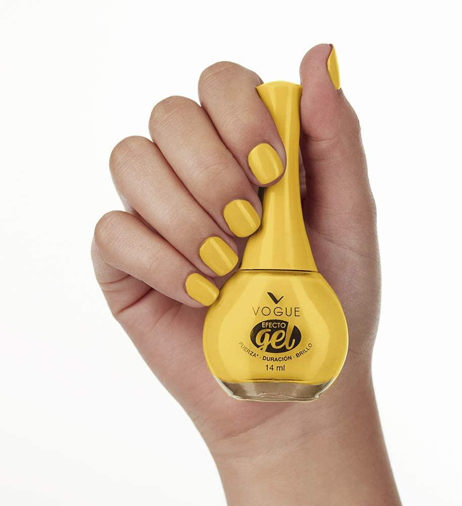 Vogue Esmalte de Unas Efecto Gel, color Amarillo Alegría/amazon.com.mx